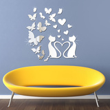 Mirror Butterflies and Crystal Lovely Cat Mirror Art Wall Decal