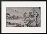 Figure Crossing a Bridge from Album of Eight Landscape Paintings Framed Giclee Print by Shen Chou
