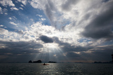 Andaman Sea: A Kayaker in the Andaman Sea under Rays of Light Photographic Print by Ben Horton