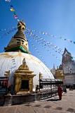 Kathmandu, Nepal: Prayer Flags Above Swayambhunath Stupa Fotografisk tryk af Ben Horton