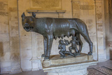 A Statue of Romulus and Remus with the She Wolf at the Capitoline Museum Photographic Print by Will Van Overbeek