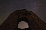 Stars, the Andromeda Galaxy, and the Double Star Cluster Above an Ancient Historic Tower Photographic Print by Babak Tafreshi