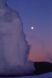 Old Faithful Erupts Beneath a Full Moon Photographic Print by Tom Murphy