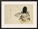 Ebisu Dancing with a Poem Framed Giclee Print by Hakuin Ekaku