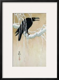 Raven on a Snowy Branch Framed Giclee Print by Koson Ikeda