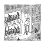 A fitness club with sign, Since 1892, has old-timey big wheeled exercise b... - New Yorker Cartoon Premium Giclee Print by John O'brien