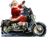 Santa Motorcycle - Dona Gelsinger Art Lifesize Standup Cardboard Cutouts