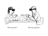 """Morning, Brad.""  ""Morning, Angelina."" - New Yorker Cartoon Premium Giclee Print by Alex Gregory"