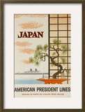 Japan American President Lines Cruise Poster Framed Giclee Print