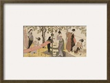 A Triptych of Girls Washing and Stretching Cloth under the Trees Framed Giclee Print by Utagawa Toyokuni