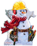 Snowman Construction Worker - Dona Gelsinger Art Lifesize Standup Figuras de cartón