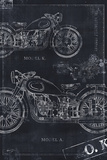 Motorcycle Co. Blueprint Black II Art by Eric Yang