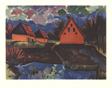 Red Houses Collectable Print by Max Pechstein