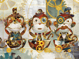 Steampunk Monkeys Premium Giclee Print by Eric Yang