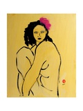 Yellow Nude with Pink Hibiscus Seated (II), 2015 Giclee Print by Susan Adams