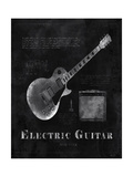 Black Print Electric Guitar Posters by Eric Yang