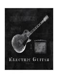 Black Print Electric Guitar Posters by Eric Yang