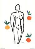 Nude With Fruits Zeefdruk van Henri Matisse