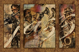 Jazz - Triptych Print by Eric Yang