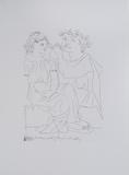 Flautista y muchacha con pandereta Print by Pablo Picasso