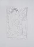 Mujer denuda sentada ante una cortina Prints by Pablo Picasso