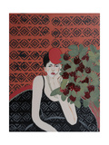 Lady with Red Hat and Red Roses, 2015 Giclee Print by Susan Adams