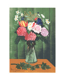 Flowers in Vase Serigraph by Henri Rousseau