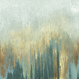 Teal Woods In Gold I Print by Roberto Gonzalez