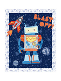 Blast Off Robot Prints by Christina Skapriwsky