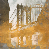 NY Gold Bridge at Dusk II Prints by Dan Meneely