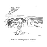 """Yuck! Look at all that planet lice down there!"" - New Yorker Cartoon Premium Giclee Print by Carolita Johnson"