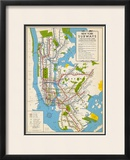 1949, New York Subway Map, New York, United States Framed Giclee Print