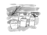 Gravestones that contain obsolete and passe' buzzwords and items. - New Yorker Cartoon Premium Giclee Print by Marshall Hopkins