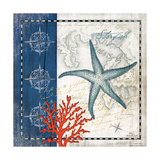 Coastal Blue Starfish Print by Jennifer Pugh