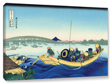 Sunset Across The Ryogoku Bridge From The Bank Of The Sumida River At Onmagayashi, Gallery-Wrapped  Stretched Canvas Print by Katsushika Hokusai