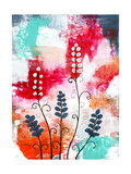 Bright Abstract with Flowers Print by Sarah Ogren