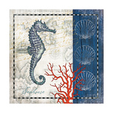 Coastal Blue Seahorse Prints by Jennifer Pugh