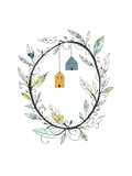 Bird Houses and Wreath Prints by Sarah Ogren