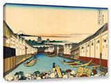 Nihonbashi Bridge In Edo, Gallery-Wrapped Canvas Stretched Canvas Print by Katsushika Hokusai