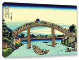 Fuji See Through The Mannen Bridge At Fukagawa, Gallery-Wrapped Canvas Stretched Canvas Print by Katsushika Hokusai