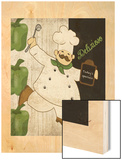 Delizioso Chef Wood Print by Piper Ballantyne