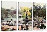 Bethesda Fountain, 3 Piece Gallery-Wrapped Canvas Set Prints by Linda Parker