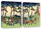 Hodogaya On The Tokaido, 2 Piece Gallery-Wrapped Canvas Set Prints by Katsushika Hokusai