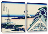 Asakusa Honganji Temple In Th Eastern Capital, 2 Piece Gallery-Wrapped Canvas Set Posters by Katsushika Hokusai