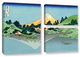 The Fuji Reflects In Lake Kawaguchi, Seen From The Misaka Pass In The Kai Province, 3 Piece Gallery Gallery Wrapped Canvas Set by Katsushika Hokusai