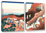 Climbing On Mt. Fuji, 2 Piece Gallery-Wrapped Canvas Set Print by Katsushika Hokusai