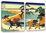 The Fields Of Sekiya By The Sumida River , 2 Piece Gallery-Wrapped Canvas Set Print by Katsushika Hokusai