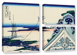 Asakusa Honganji Temple In Th Eastern Capital, 3 Piece Gallery-Wrapped Canvas Flag Set Gallery Wrapped Canvas Set by Katsushika Hokusai
