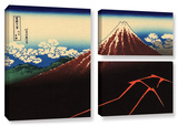 Shower Below The Summit (Sanka Hakuu), 3 Piece Gallery-Wrapped Canvas Flag Set Gallery Wrapped Canvas Set by Katsushika Hokusai