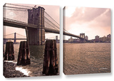 Brooklyn Bridge At Sunset, 2 Piece Gallery-Wrapped Canvas Set Posters by Linda Parker